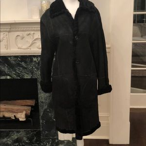 Black soft leather/shearling reversible coat